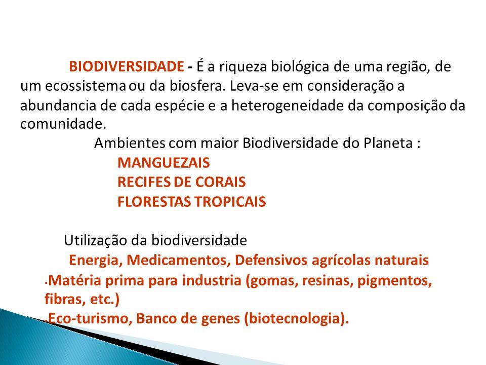 BIODIVERSIDADE - É a riqueza biológica de uma região, de um ecossistema ou da biosfera. Leva-se em consideração a abundancia de cada espécie e a heter