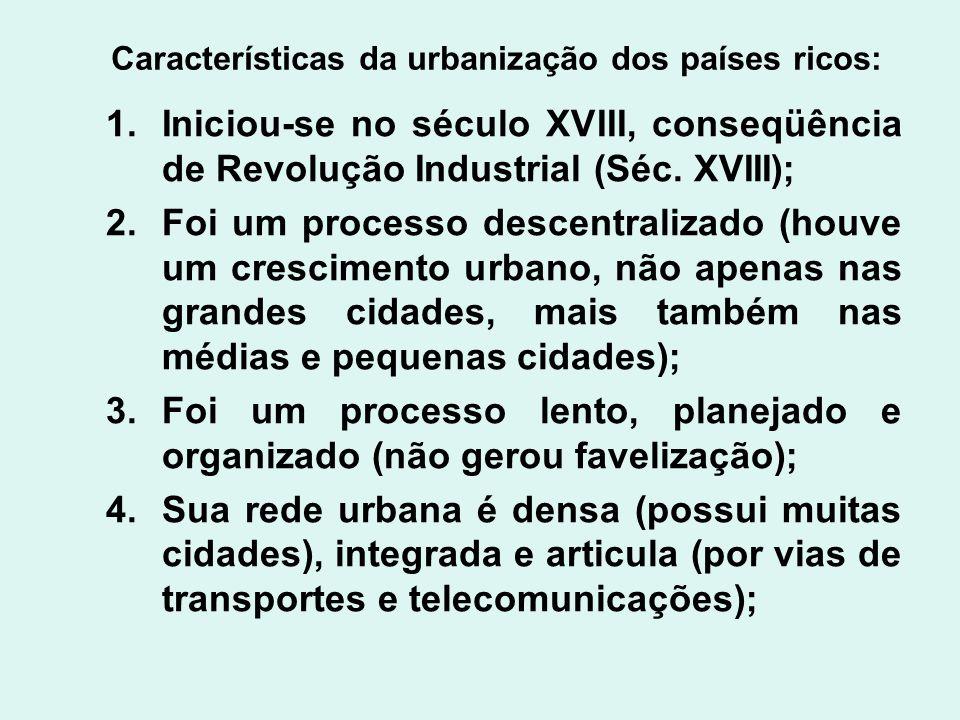 Características da urbanização dos países ricos: 1.Iniciou-se no século XVIII, conseqüência de Revolução Industrial (Séc. XVIII); 2.Foi um processo de