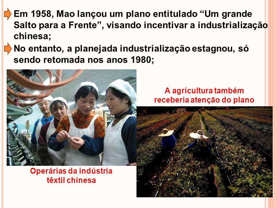 Em 1958, Mao lançou um plano entitulado Um grande Salto para a Frente, visando incentivar a industrialização chinesa; No entanto, a planejada industri