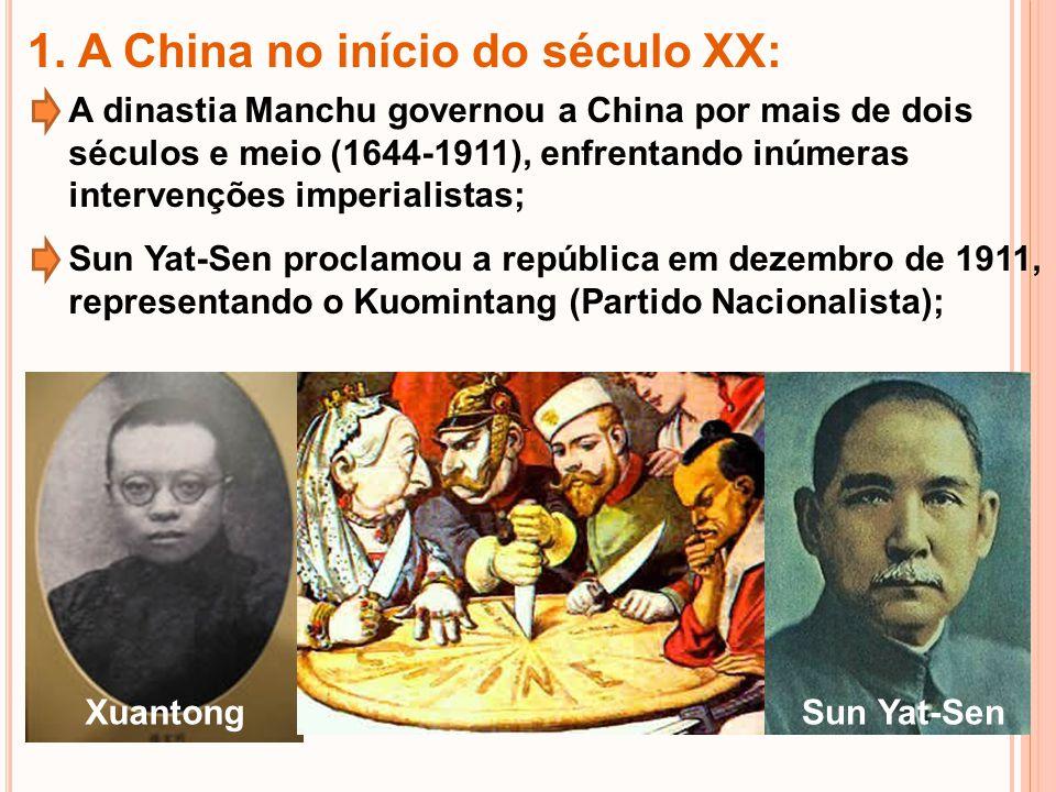 Em 1921, o jovem Mao Tsé-Tung fundou o Partido Comunista; Em 1925, Sun Yat-Sen morreu, sendo substituído por Ching Kai-Shek; Mao Tsé-Tung Ching Kai-Shek