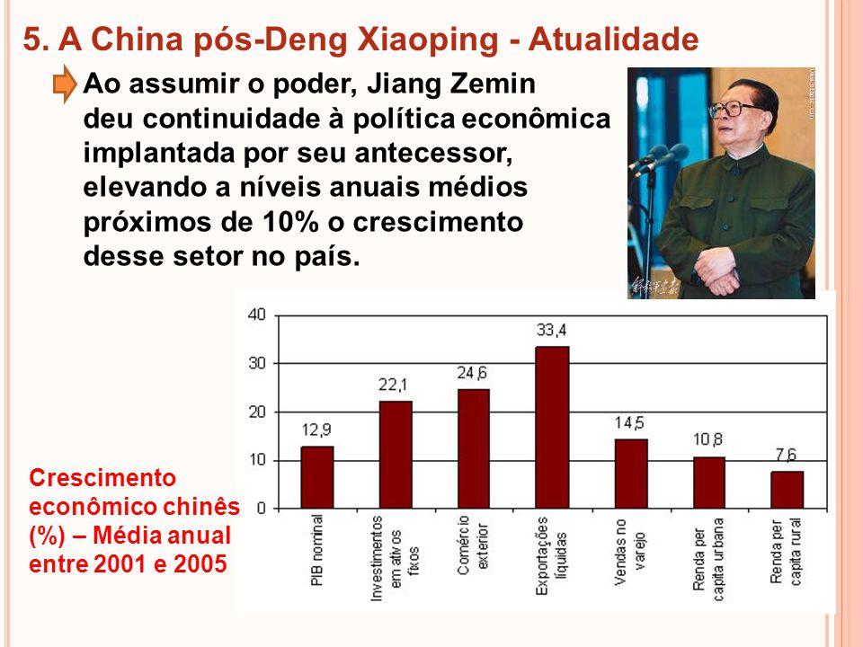 5. A China pós-Deng Xiaoping - Atualidade Ao assumir o poder, Jiang Zemin deu continuidade à política econômica implantada por seu antecessor, elevand