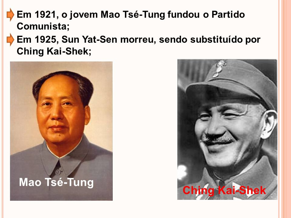 Em 1921, o jovem Mao Tsé-Tung fundou o Partido Comunista; Em 1925, Sun Yat-Sen morreu, sendo substituído por Ching Kai-Shek; Mao Tsé-Tung Ching Kai-Sh