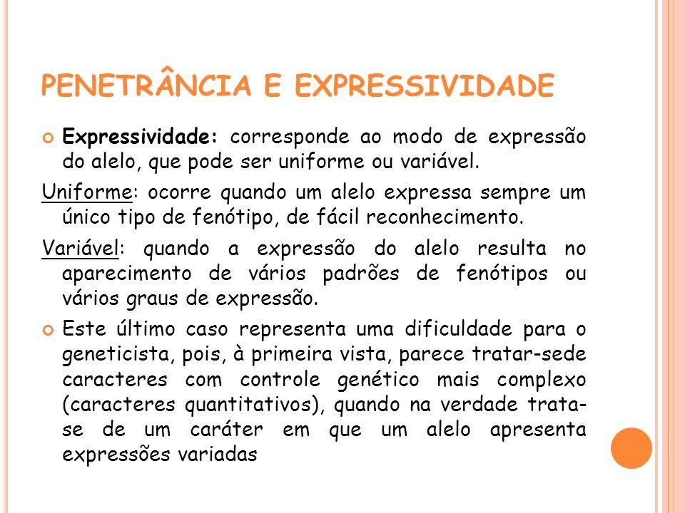 PENETRÂNCIA E EXPRESSIVIDADE Expressividade: corresponde ao modo de expressão do alelo, que pode ser uniforme ou variável. Uniforme: ocorre quando um
