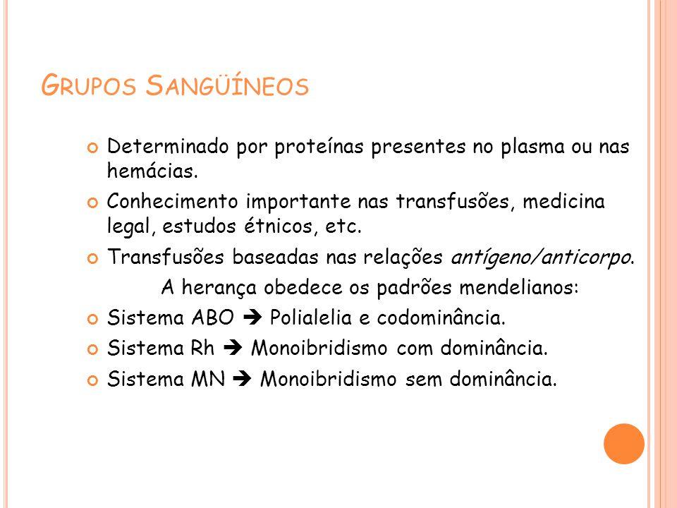 G RUPOS S ANGÜÍNEOS Determinado por proteínas presentes no plasma ou nas hemácias. Conhecimento importante nas transfusões, medicina legal, estudos ét