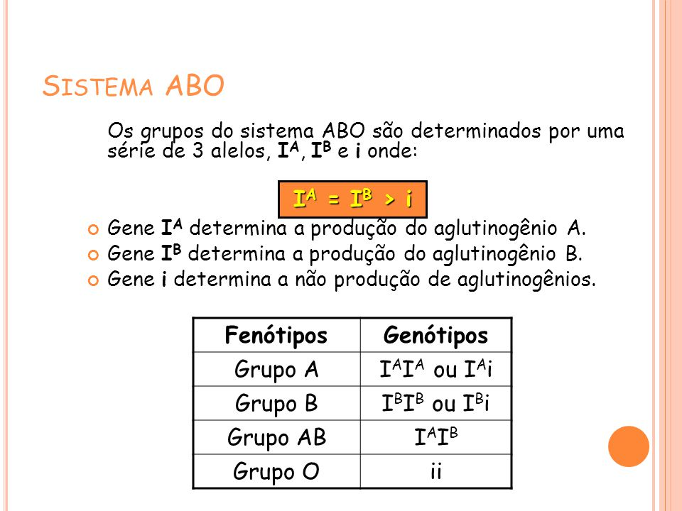 S ISTEMA ABO Os grupos do sistema ABO são determinados por uma série de 3 alelos, I A, I B e i onde: Gene I A determina a produção do aglutinogênio A.