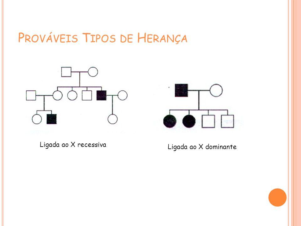 P ROVÁVEIS T IPOS DE H ERANÇA Ligada ao X recessiva Ligada ao X dominante