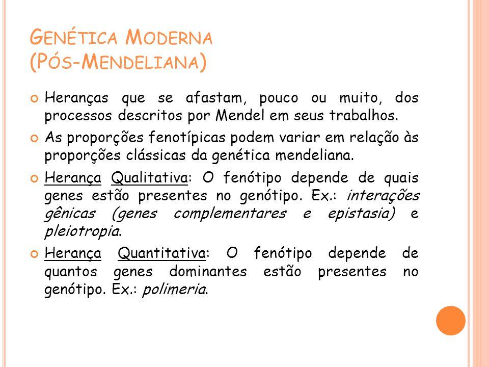 G ENÉTICA M ODERNA (P ÓS -M ENDELIANA ) Heranças que se afastam, pouco ou muito, dos processos descritos por Mendel em seus trabalhos. As proporções f