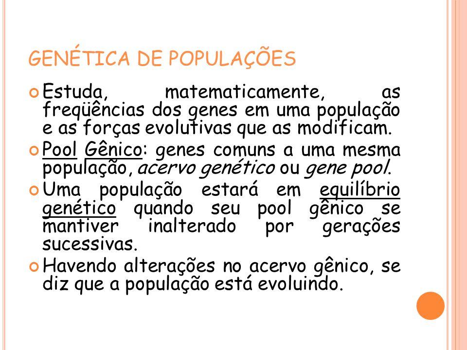 GENÉTICA DE POPULAÇÕES Estuda, matematicamente, as freqüências dos genes em uma população e as forças evolutivas que as modificam. Pool Gênico: genes