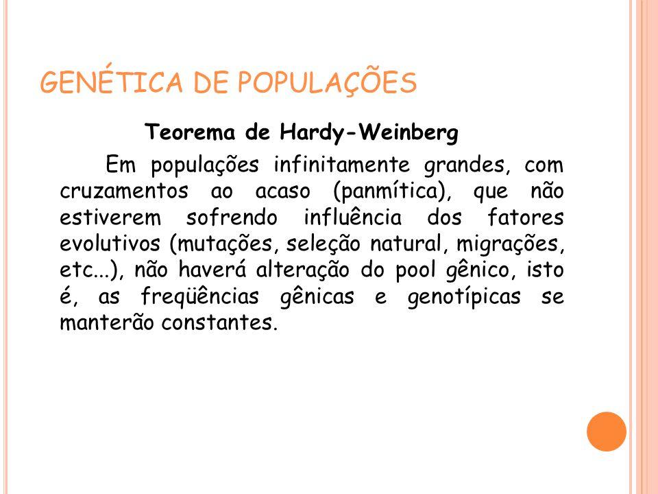 GENÉTICA DE POPULAÇÕES Teorema de Hardy-Weinberg Em populações infinitamente grandes, com cruzamentos ao acaso (panmítica), que não estiverem sofrendo