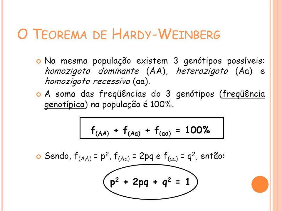 O T EOREMA DE H ARDY -W EINBERG Na mesma população existem 3 genótipos possíveis: homozigoto dominante (AA), heterozigoto (Aa) e homozigoto recessivo (aa).