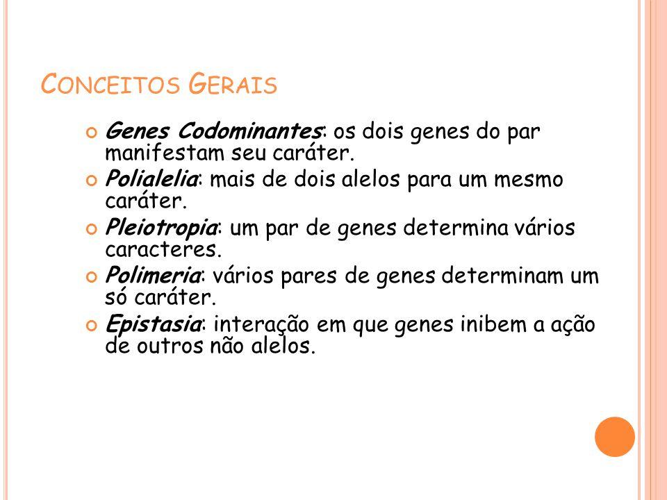C ONCEITOS G ERAIS Genes Codominantes: os dois genes do par manifestam seu caráter. Polialelia: mais de dois alelos para um mesmo caráter. Pleiotropia
