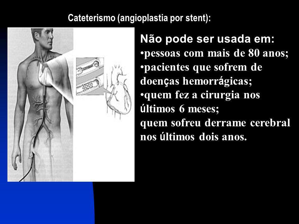 Cateterismo (angioplastia por stent): Não pode ser usada em: pessoas com mais de 80 anos; pacientes que sofrem de doen ç as hemorr á gicas; quem fez a