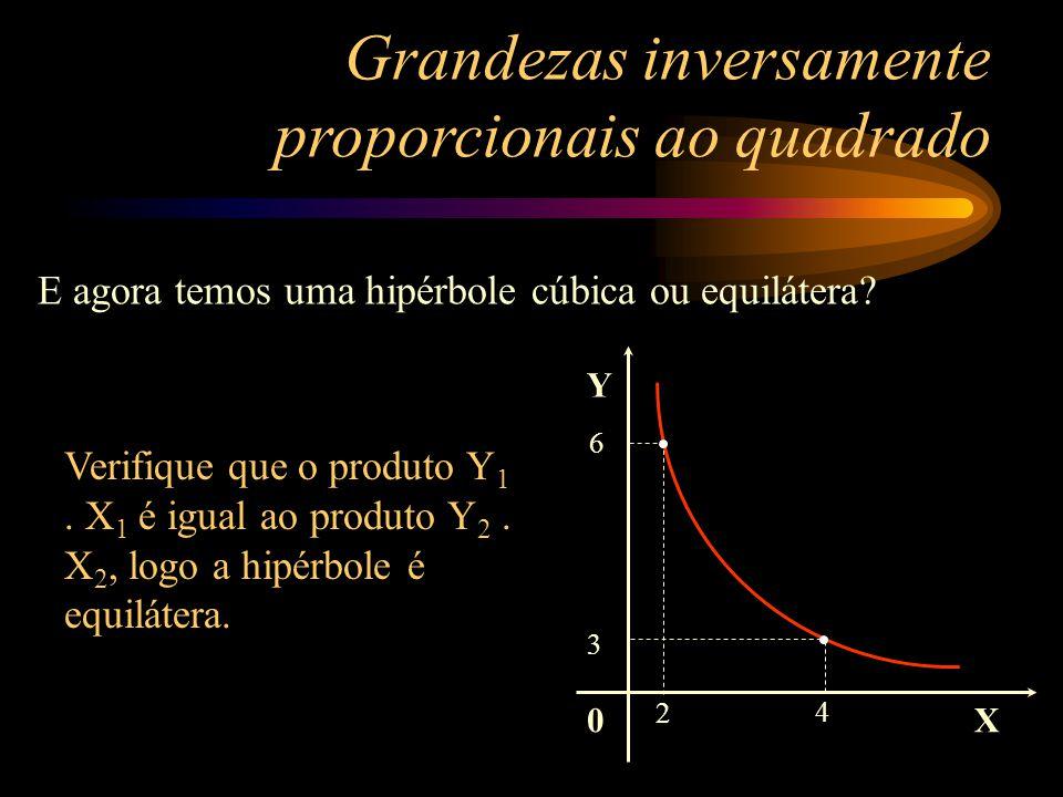 0 Y X X1X1 Y1Y1 X2X2 Y2Y2 Colocando valores, examine dois pontos desta curva. Se Y 1. X 1 = Y 2. X 2, então a curva é uma hipérbole equilátera. Se Y 1