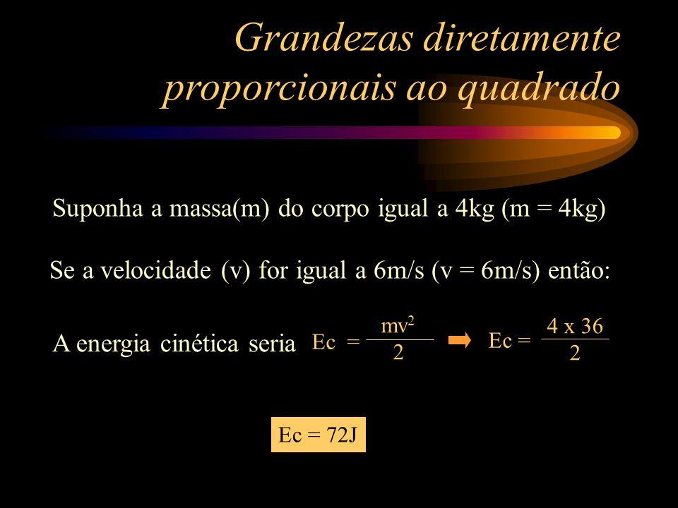 Grandezas diretamente proporcionais ao quadrado Suponha a massa(m) do corpo igual a 4kg (m = 4kg) Se a velocidade (v) for igual a 6m/s (v = 6m/s) então: A energia cinética seria Ec = 72J Ec = mv 2 2 Ec = 4 x 36 2
