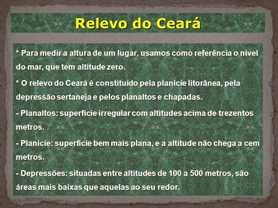 Relevo do Ceará * Para medir a altura de um lugar, usamos como referência o nível do mar, que tem altitude zero.