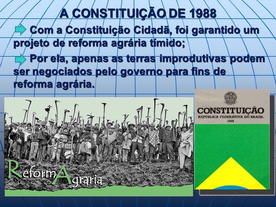 A CONSTITUIÇÃO DE 1988 Com a Constituição Cidadã, foi garantido um projeto de reforma agrária tímido; Com a Constituição Cidadã, foi garantido um projeto de reforma agrária tímido; Por ela, apenas as terras improdutivas podem ser negociados pelo governo para fins de reforma agrária.