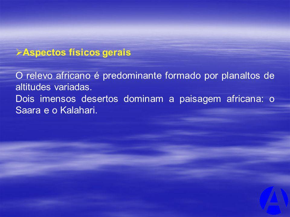 Aspectos físicos gerais O relevo africano é predominante formado por planaltos de altitudes variadas. Dois imensos desertos dominam a paisagem african