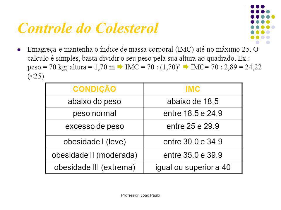 Professor: João Paulo Controle do Colesterol Emagreça e mantenha o índice de massa corporal (IMC) até no máximo 25.