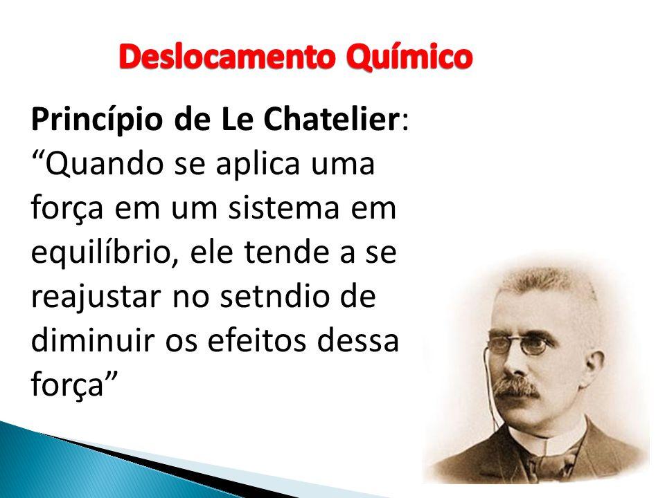 Princípio de Le Chatelier: Quando se aplica uma força em um sistema em equilíbrio, ele tende a se reajustar no setndio de diminuir os efeitos dessa fo