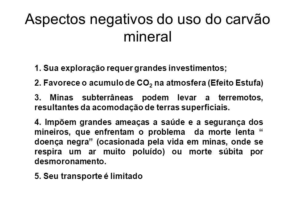 Aspectos negativos do uso do carvão mineral 1. Sua exploração requer grandes investimentos; 2. Favorece o acumulo de CO 2 na atmosfera (Efeito Estufa)