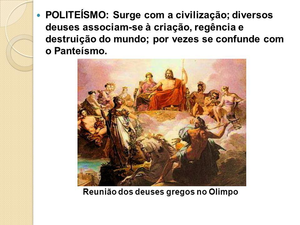 POLITEÍSMO: Surge com a civilização; diversos deuses associam-se à criação, regência e destruição do mundo; por vezes se confunde com o Panteísmo. Reu