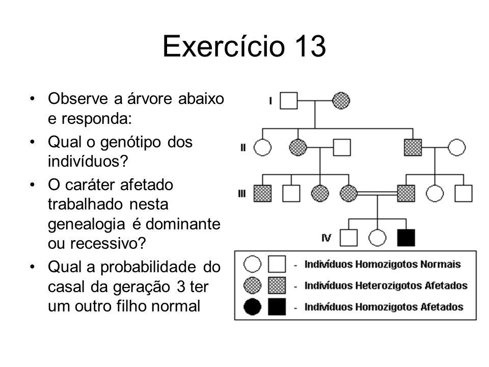 Exercício 13 Observe a árvore abaixo e responda: Qual o genótipo dos indivíduos.