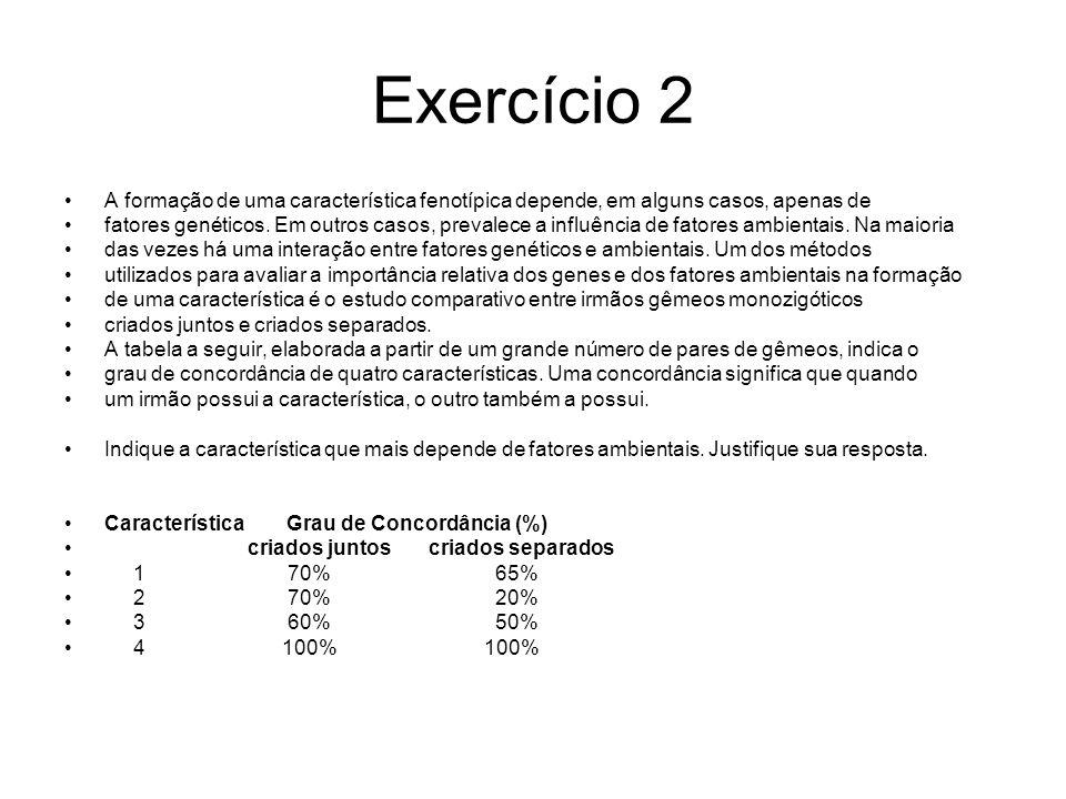 Exercício 2 A formação de uma característica fenotípica depende, em alguns casos, apenas de fatores genéticos.