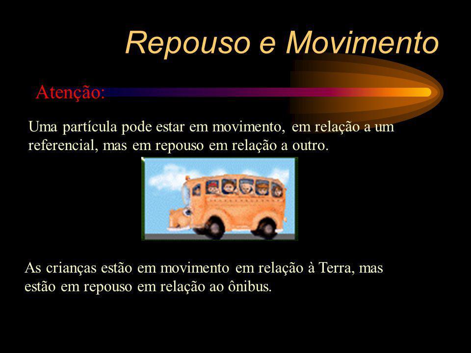 Repouso e Movimento Uma partícula pode estar em movimento, em relação a um referencial, mas em repouso em relação a outro. As crianças estão em movime