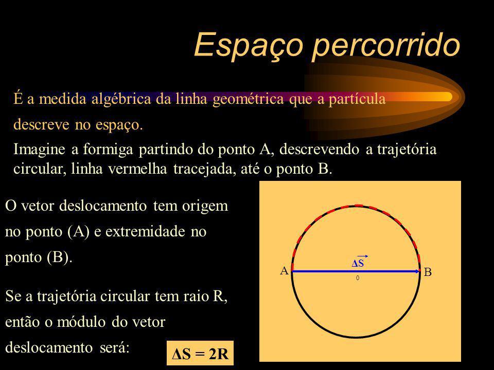 0 É a medida algébrica da linha geométrica que a partícula descreve no espaço. Espaço percorrido ΔS A B Imagine a formiga partindo do ponto A, descrev