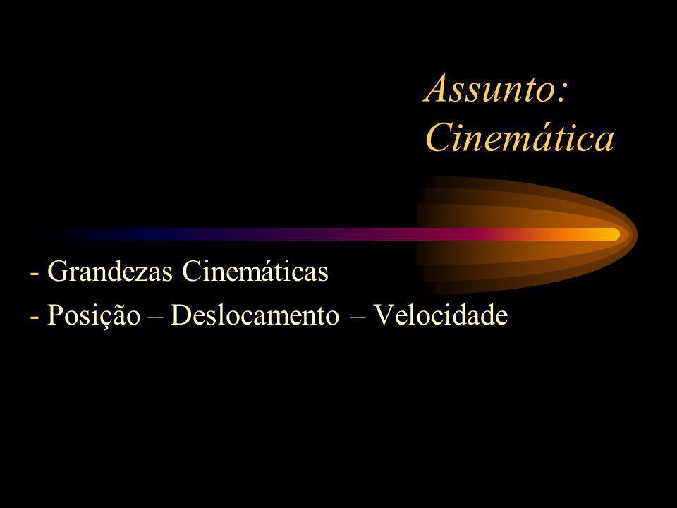 Assunto: Cinemática - Grandezas Cinemáticas - Posição – Deslocamento – Velocidade