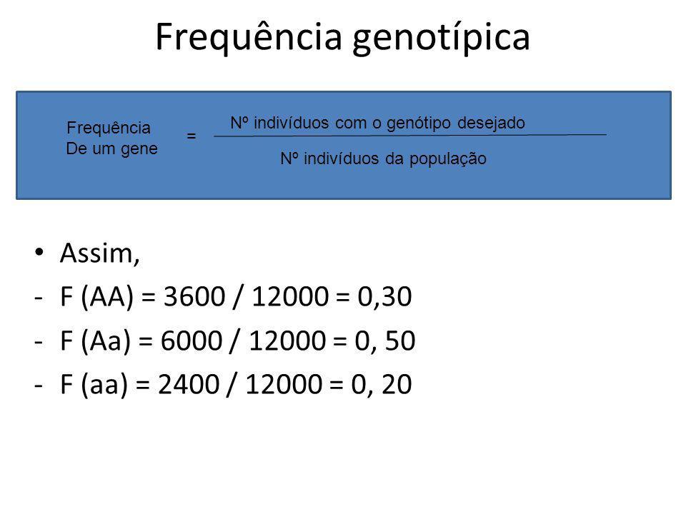 Frequência genotípica Assim, -F (AA) = 3600 / 12000 = 0,30 -F (Aa) = 6000 / 12000 = 0, 50 -F (aa) = 2400 / 12000 = 0, 20 Frequência De um gene = Nº in