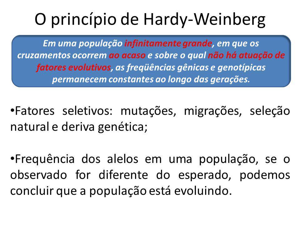 O princípio de Hardy-Weinberg Fatores seletivos: mutações, migrações, seleção natural e deriva genética; Frequência dos alelos em uma população, se o