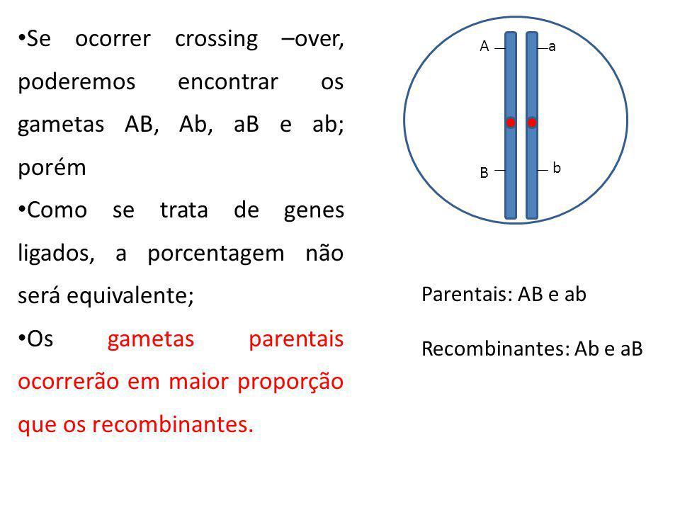 Se ocorrer crossing –over, poderemos encontrar os gametas AB, Ab, aB e ab; porém Como se trata de genes ligados, a porcentagem não será equivalente; O