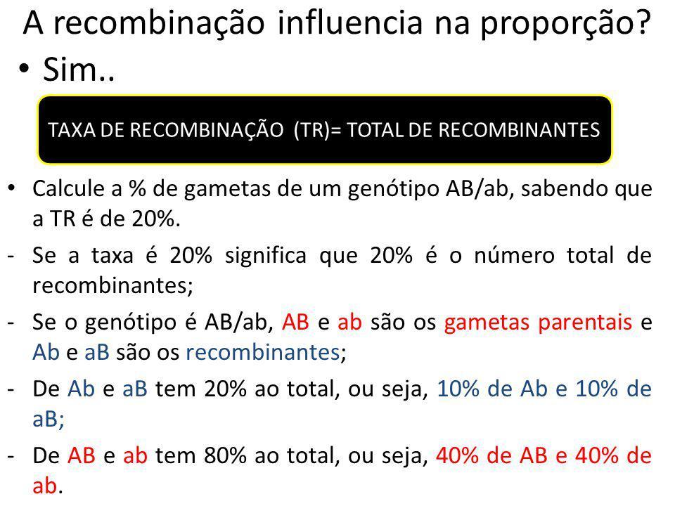A recombinação influencia na proporção? Sim.. TAXA DE RECOMBINAÇÃO (TR)= TOTAL DE RECOMBINANTES Calcule a % de gametas de um genótipo AB/ab, sabendo q