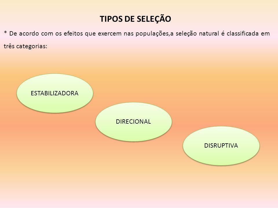 TIPOS DE SELEÇÃO * De acordo com os efeitos que exercem nas populações,a seleção natural é classificada em três categorias: ESTABILIZADORA DIRECIONAL