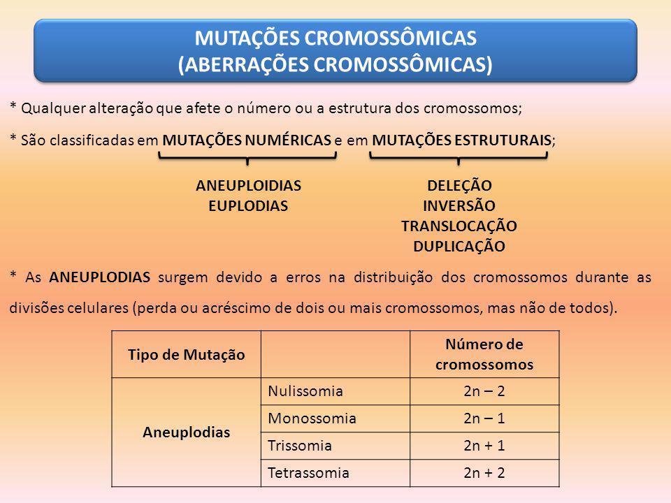 MUTAÇÕES CROMOSSÔMICAS (ABERRAÇÕES CROMOSSÔMICAS) * Qualquer alteração que afete o número ou a estrutura dos cromossomos; * São classificadas em MUTAÇ
