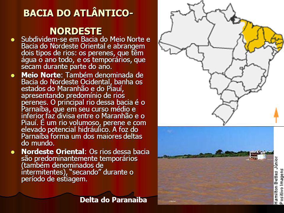 BACIA DO ATLÂNTICO- NORDESTE BACIA DO ATLÂNTICO- NORDESTE Subdividem-se em Bacia do Meio Norte e Bacia do Nordeste Oriental e abrangem dois tipos de r