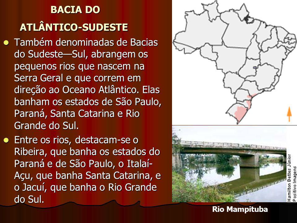 BACIA DO ATLÂNTICO-SUDESTE BACIA DO ATLÂNTICO-SUDESTE Também denominadas de Bacias do SudesteSul, abrangem os pequenos rios que nascem na Serra Geral