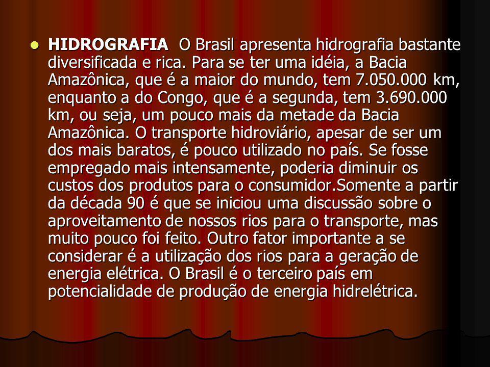 HIDROGRAFIA O Brasil apresenta hidrografia bastante diversificada e rica. Para se ter uma idéia, a Bacia Amazônica, que é a maior do mundo, tem 7.050.