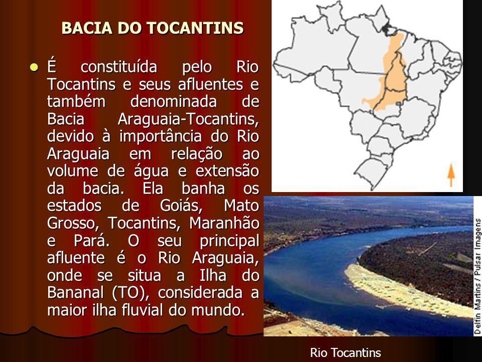 BACIA DO TOCANTINS BACIA DO TOCANTINS É constituída pelo Rio Tocantins e seus afluentes e também denominada de Bacia Araguaia-Tocantins, devido à importância do Rio Araguaia em relação ao volume de água e extensão da bacia.