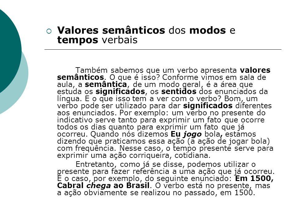 Valores semânticos dos modos e tempos verbais Também sabemos que um verbo apresenta valores semânticos. O que é isso? Conforme vimos em sala de aula,