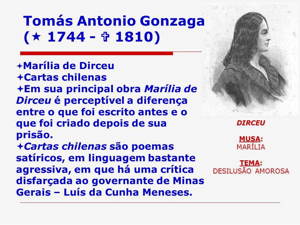 Marília de Dirceu Cartas chilenas Em sua principal obra Marília de Dirceu é perceptível a diferença entre o que foi escrito antes e o que foi criado depois de sua prisão.