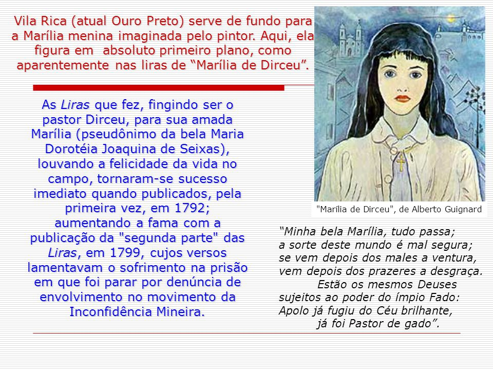 Vila Rica (atual Ouro Preto) serve de fundo para a Marília menina imaginada pelo pintor.