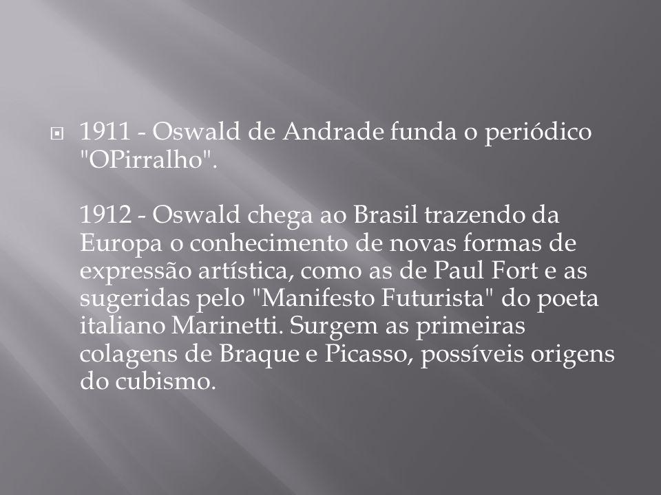 1911 - Oswald de Andrade funda o periódico OPirralho .