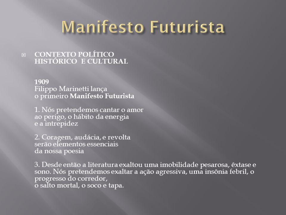 CONTEXTO POLÍTICO HISTÓRICO E CULTURAL 1909 Filippo Marinetti lança o primeiro Manifesto Futurista 1.