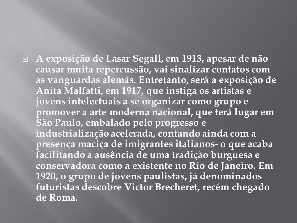 A exposição de Lasar Segall, em 1913, apesar de não causar muita repercussão, vai sinalizar contatos com as vanguardas alemãs.