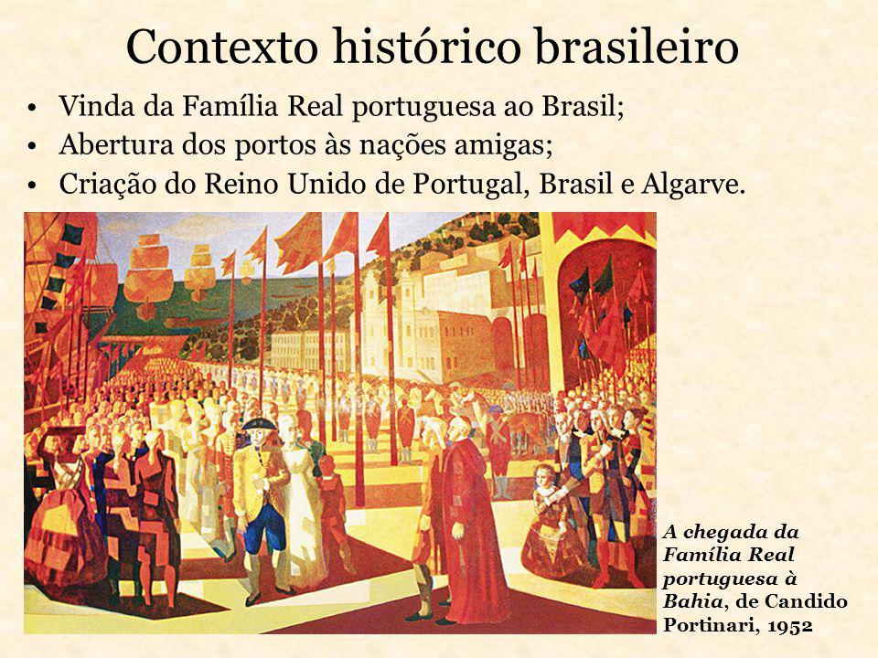 Contexto histórico brasileiro Vinda da Família Real portuguesa ao Brasil; Abertura dos portos às nações amigas; Criação do Reino Unido de Portugal, Br