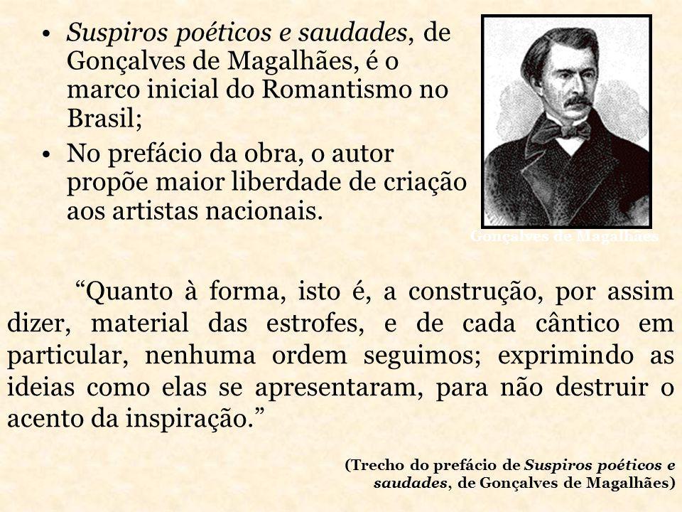 Suspiros poéticos e saudades, de Gonçalves de Magalhães, é o marco inicial do Romantismo no Brasil; No prefácio da obra, o autor propõe maior liberdad