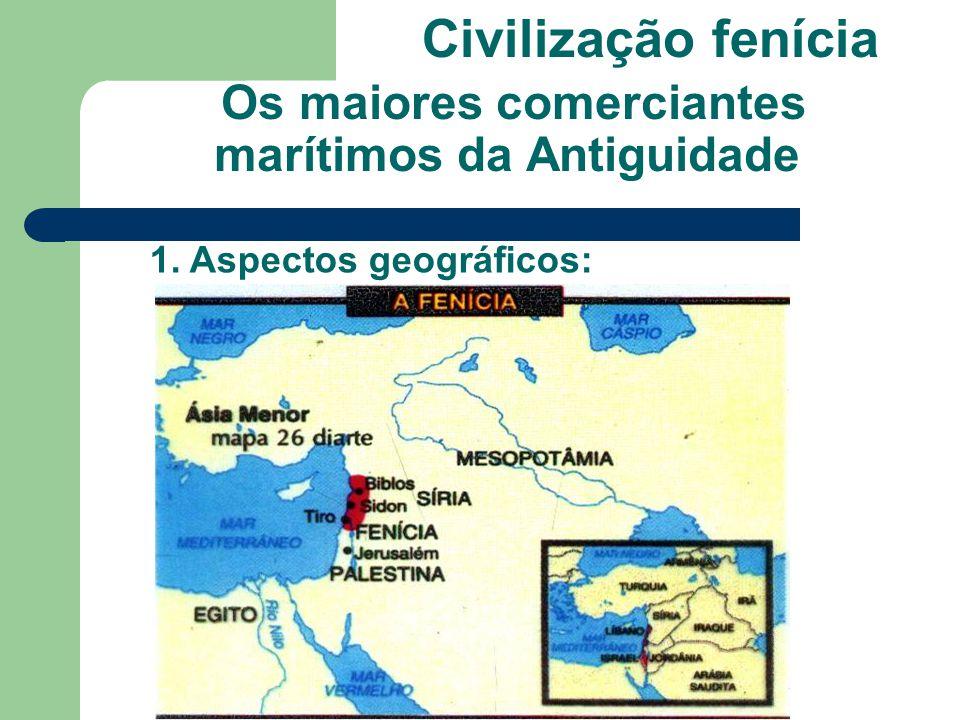 > Localização da Fenícia em relação ao Mar Mediterrâneo