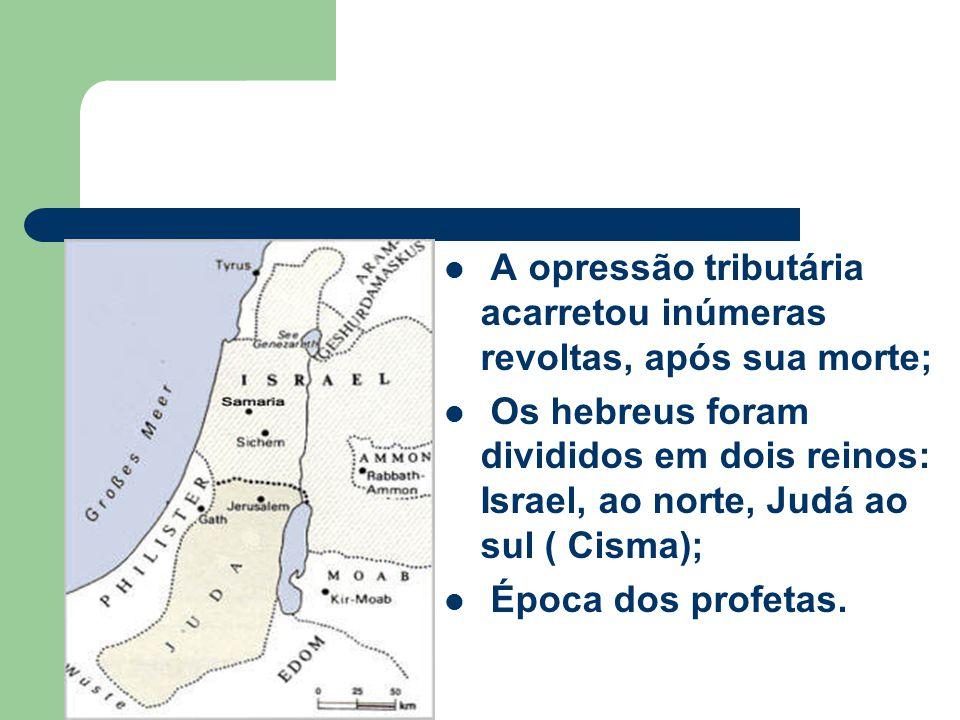 A opressão tributária acarretou inúmeras revoltas, após sua morte; Os hebreus foram divididos em dois reinos: Israel, ao norte, Judá ao sul ( Cisma);